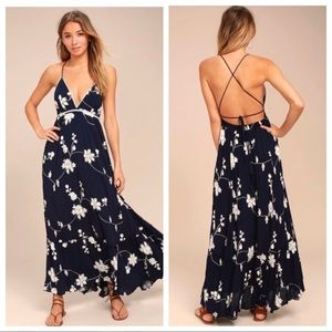 Lulus Winding Vines Navy Embroidered Maxi Dress